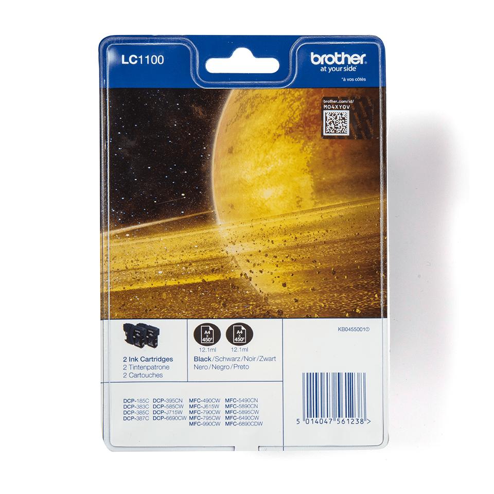 Pack de cartouches d'encre LC1100BKBP2 Brother original – noir (x2)