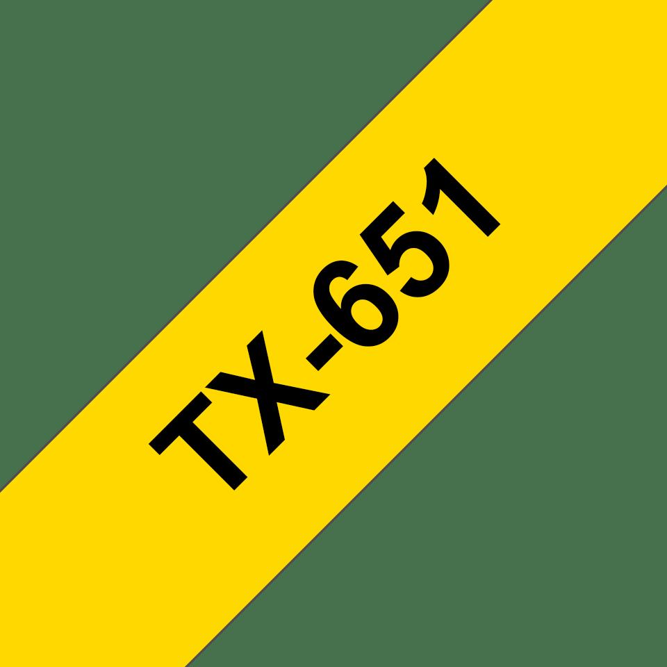 Cassette à ruban pour étiqueteuse TX-651 Brother originale – Noir sur jaune, 24mm de large 0
