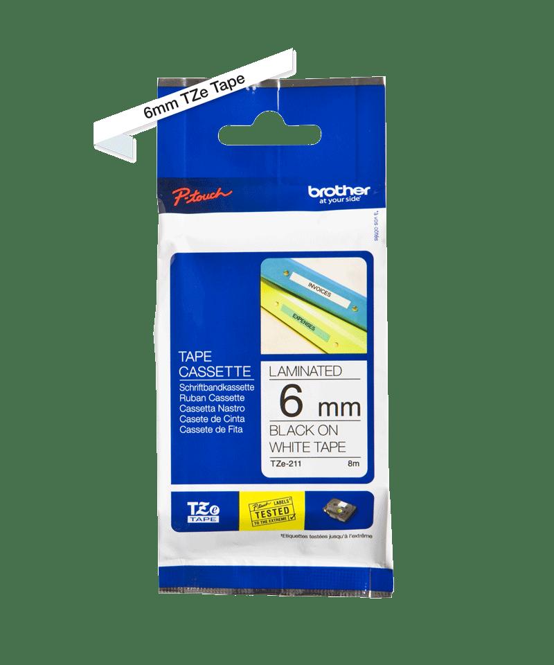 Cassette à ruban pour étiqueteuse TZe-211 Brother originale – Noir sur blanc, 6mm de large 1