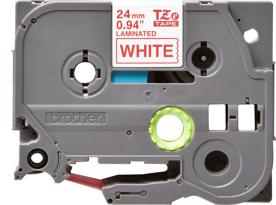 Cassette à ruban pour étiqueteuse TZe-252 Brother originale – Rouge sur blanc, 24mm de large 0