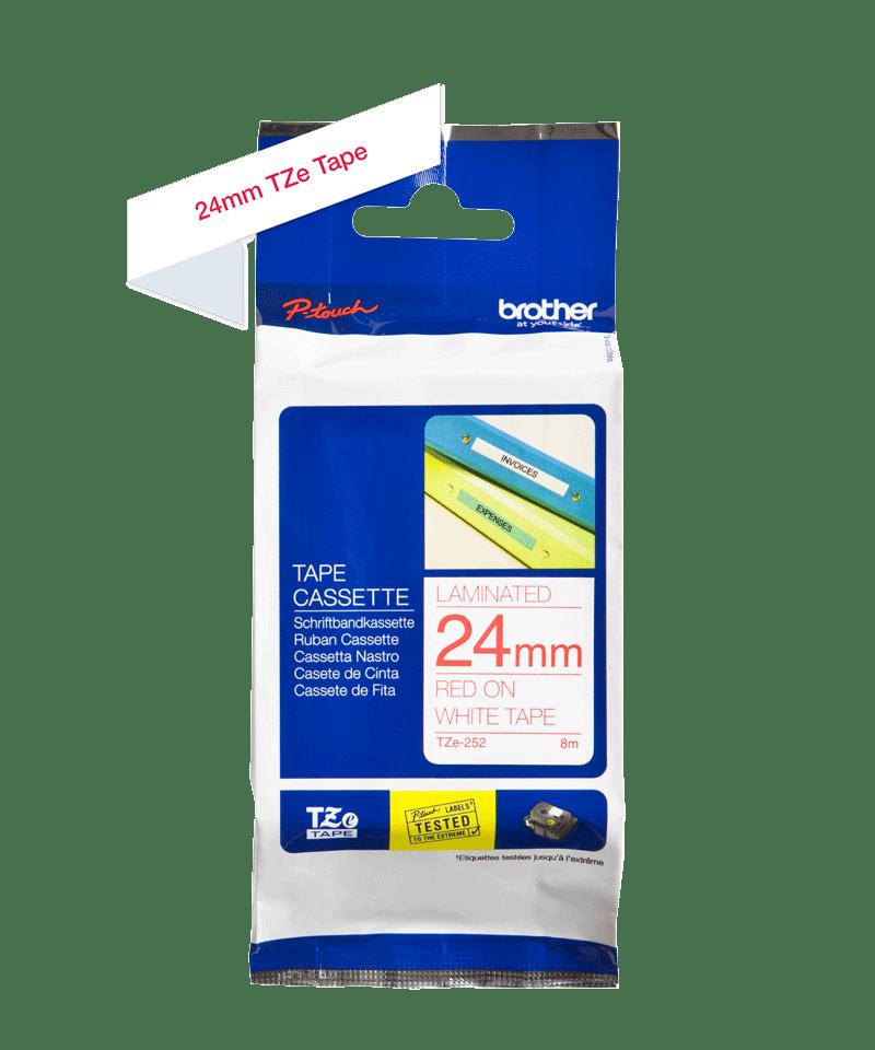 Cassette à ruban pour étiqueteuse TZe-252 Brother originale – Rouge sur blanc, 24mm de large 1