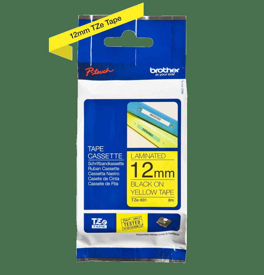 Cassette à ruban pour étiqueteuse TZe-631 Brother originale – Noir sur jaune, 12mm de large 1