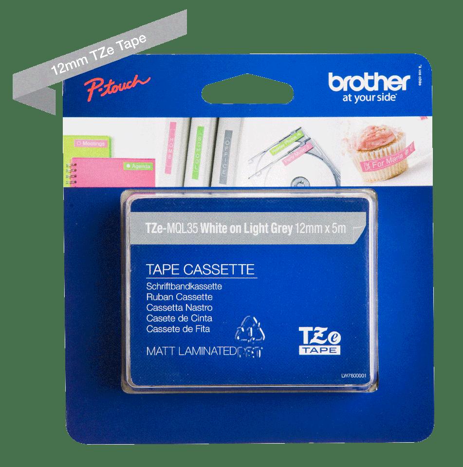 Cassette à ruban pour étiqueteuse TZe-MQL35 Brother originale – Blanc sur gris clair mat, 12mm de large 1