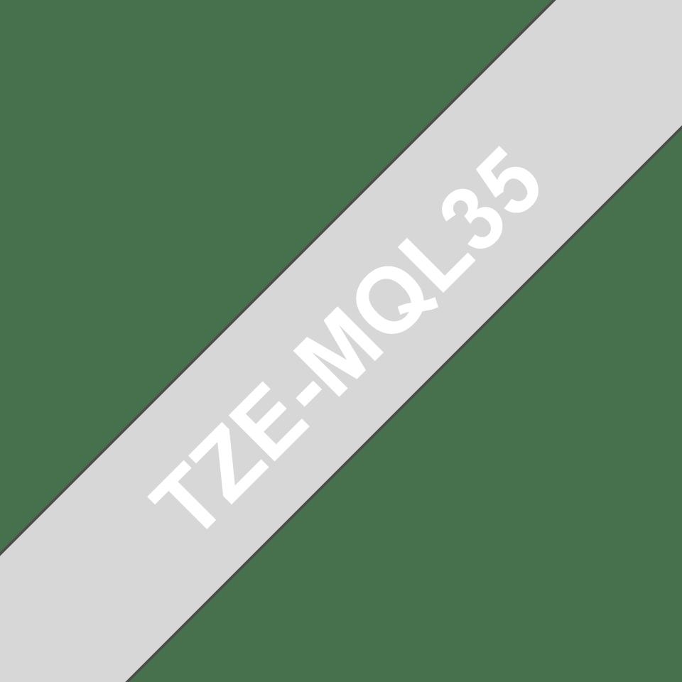 Cassette à ruban pour étiqueteuse TZe-MQL35 Brother originale – Blanc sur gris clair mat, 12mm de large 2